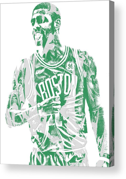 Kyrie Irving Acrylic Print featuring the mixed media Kyrie Irving Boston Celtics Pixel Art 7 by Joe Hamilton