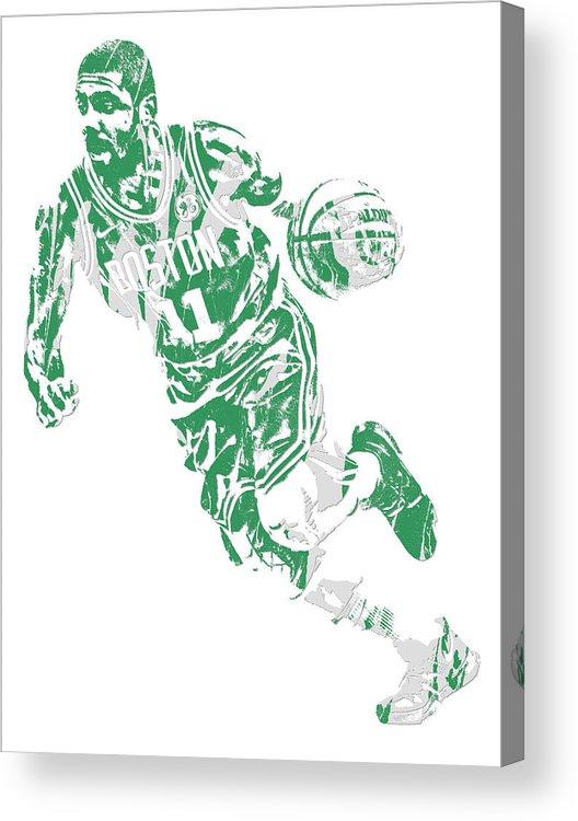 Kyrie Irving Acrylic Print featuring the mixed media Kyrie Irving Boston Celtics Pixel Art 9 by Joe Hamilton