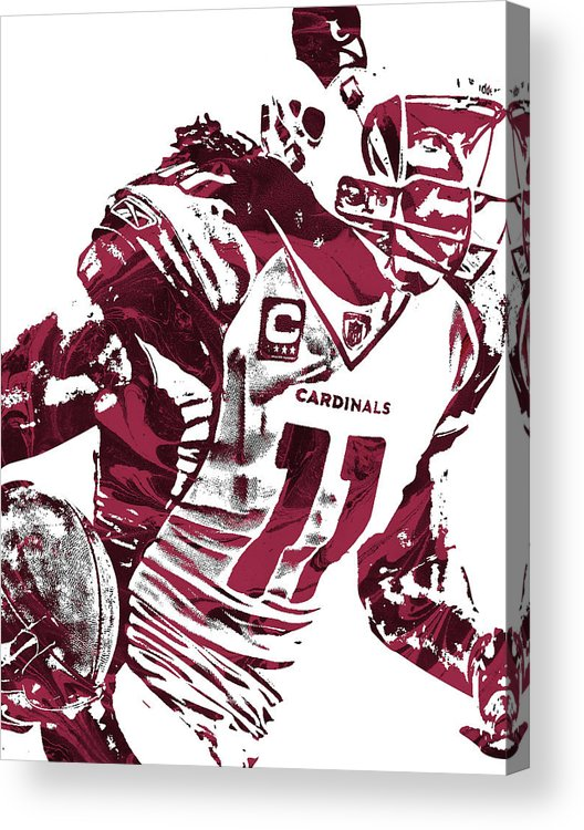 Larry Fitzgerald Acrylic Print featuring the mixed media Larry Fitzgerald Arizona Cardinals Pixel Art 1 by Joe Hamilton