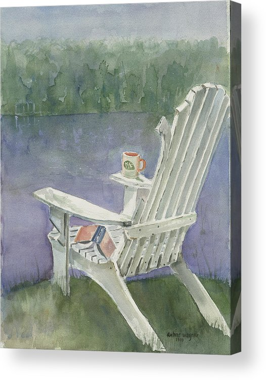 Chair Acrylic Print featuring the painting Lawn Chair By The Lake by Arline Wagner