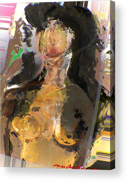 Black Hair Acrylic Print featuring the mixed media Madam Bouran by Noredin Morgan