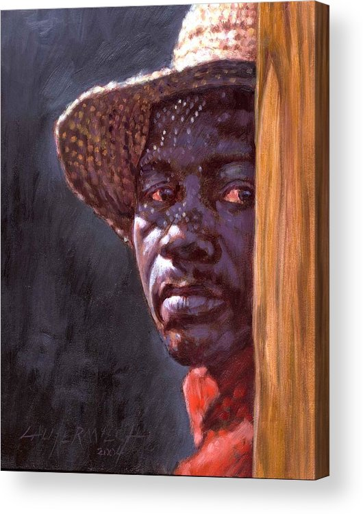 Black Man Acrylic Print featuring the painting Man In Straw Hat by John Lautermilch