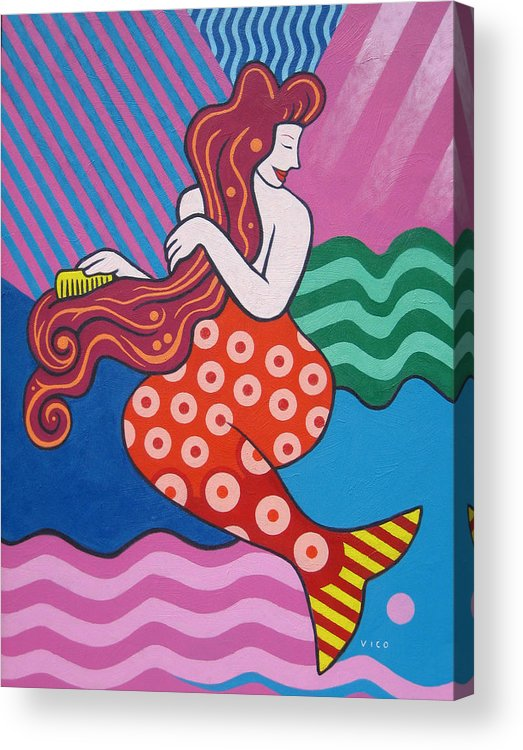 Mermaid Art Acrylic Print featuring the painting Mermaid In The Morning by Vico Vico