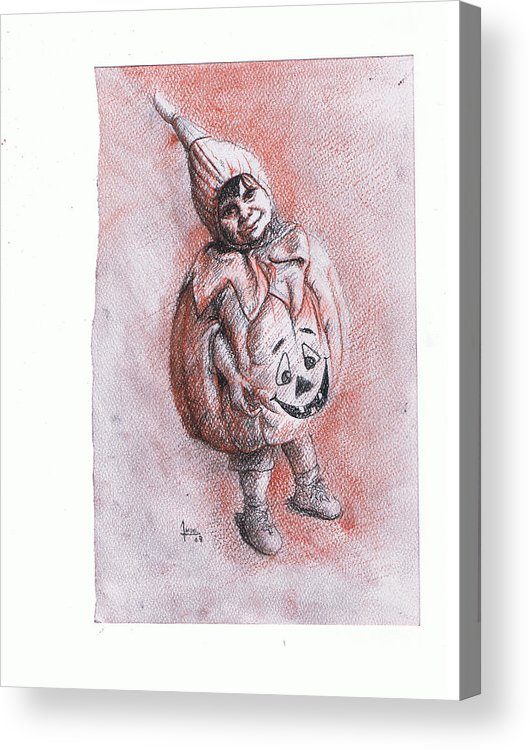 Portrait Acrylic Print featuring the drawing Mi Clabacita by Victor Amor