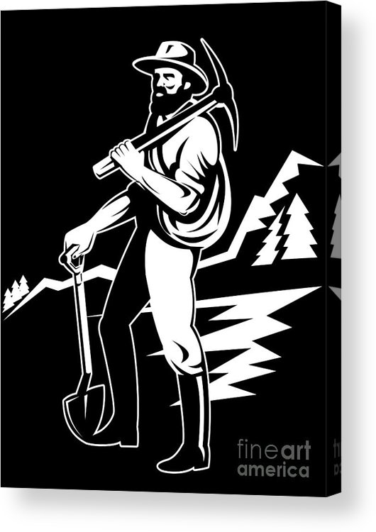 Illustration Acrylic Print featuring the digital art Miner With Pick Axe And Shovel by Aloysius Patrimonio