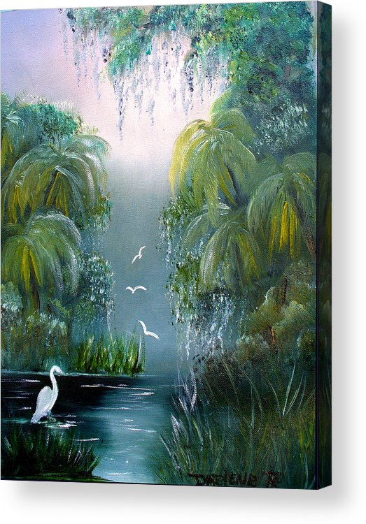 Morning Acrylic Print featuring the painting Misty Morning Swamp by Darlene Green