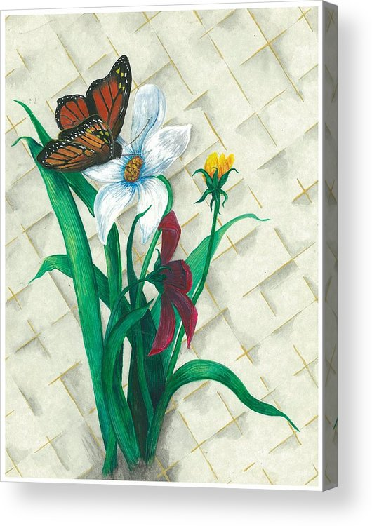 Flowers Acrylic Print featuring the painting Monarch And Flowers by Sally Balfany