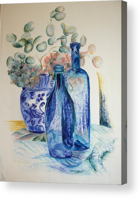 Still Life Acrylic Print featuring the drawing Monnaie Bleue by Muriel Dolemieux