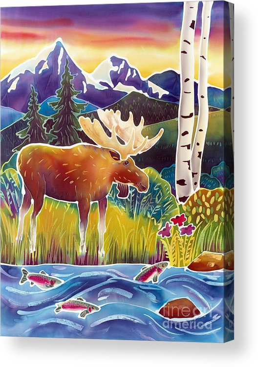 Moose Acrylic Print featuring the painting Moose On Trout Creek by Harriet Peck Taylor