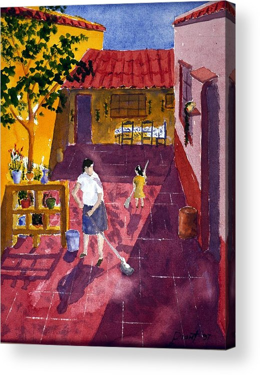 Court Yard Acrylic Print featuring the painting Morning Chores by Buster Dight