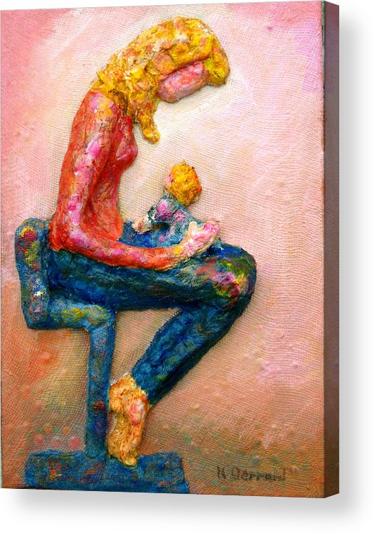 Mother And Child Acrylic Print featuring the painting Mother Bonding I by Naomi Gerrard