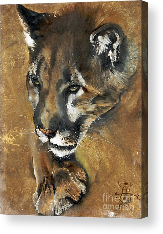Southwest Art Acrylic Print featuring the painting Mountain Lion - Guardian Of The North by J W Baker
