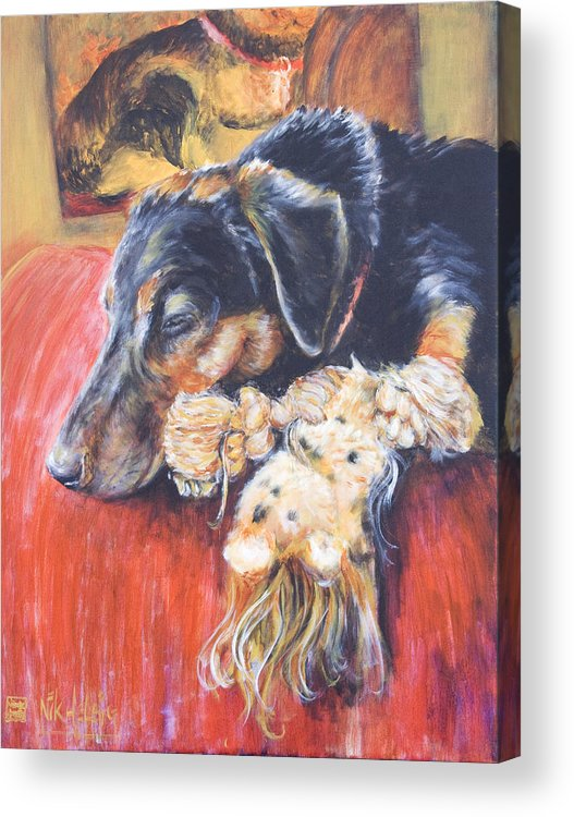 Dog Acrylic Print featuring the painting Murphy Viii by Nik Helbig