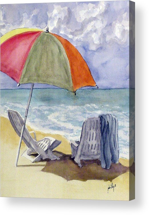 Umbrella Acrylic Print featuring the painting Must Be Swimming by Jim Phillips