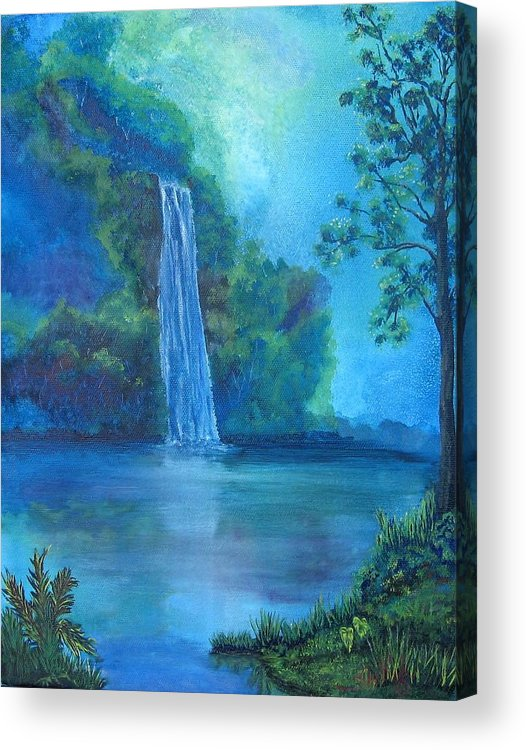 Landscape Acrylic Print featuring the painting Mystic Waterfall by SheRok Williams