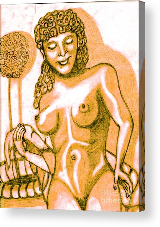 Statue Acrylic Print featuring the drawing Naked Goddess by Richard Heyman