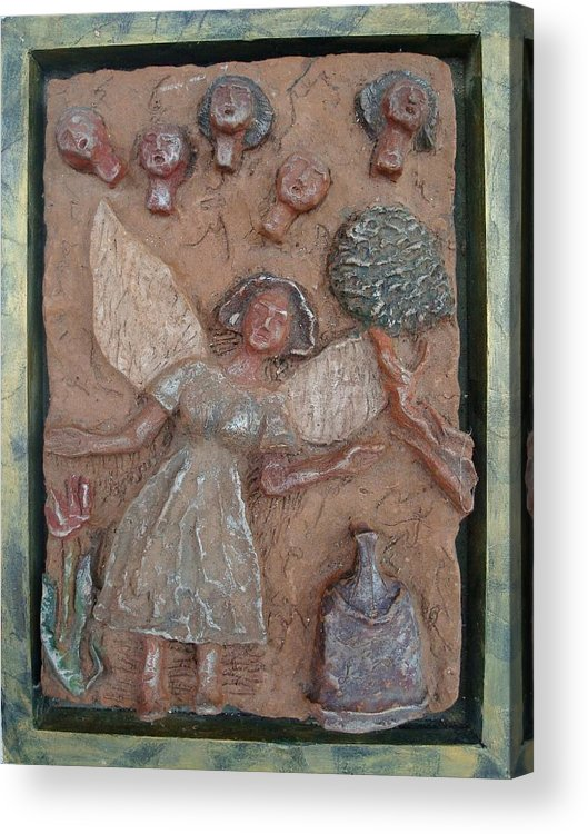 Clay Acrylic Print featuring the relief Natividad 1 by Lorna Diwata Fernandez