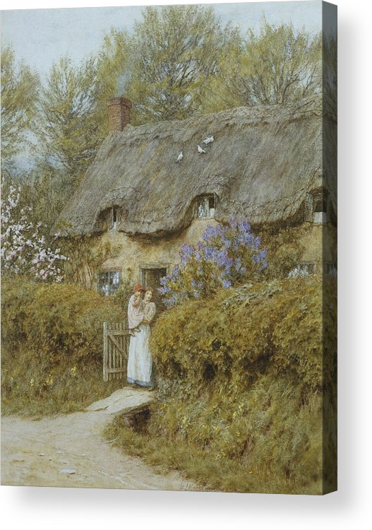 Cottage; English; Landscape; Victorian; C19th; C20th; Thatched; Thatch; Gate; Gateway; Hedge; Mother; Child; Baby; Female Acrylic Print featuring the painting Near Freshwater Isle Of Wight by Helen Allingham