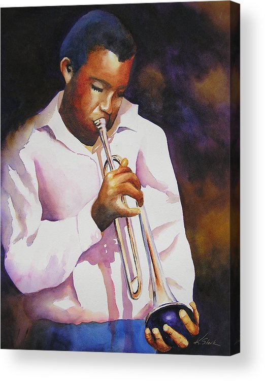 Trumpet Acrylic Print featuring the painting Night Music by Karen Stark