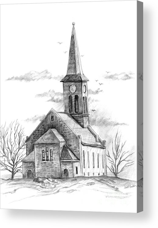 Country Acrylic Print Featuring The Drawing Old Church By Scott Parker