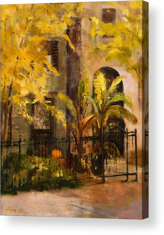 Autumn Garden Acrylic Print featuring the painting On Orleans In Old Town by Nancy Albrecht