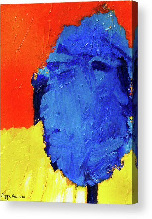 Blue Acrylic Print featuring the painting On The Road by Noga Ami-rav