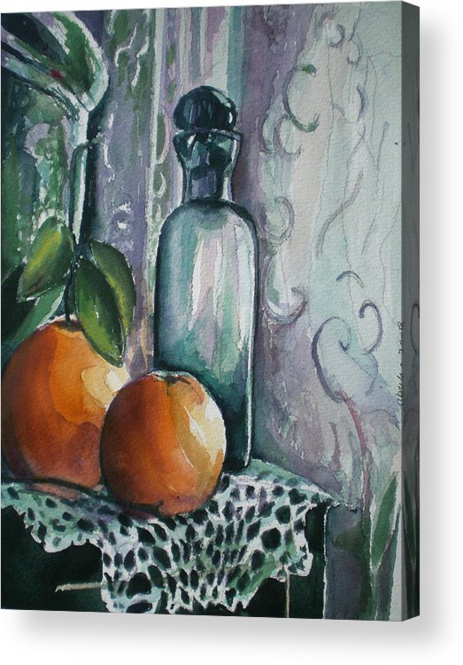 Still Life Acrylic Print featuring the painting Oranges With Blue Bottle by Aleksandra Buha