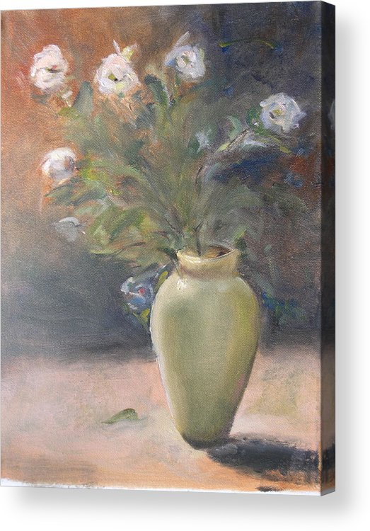 Flower Acrylic Print featuring the painting Out Of The Garden by Patricia Caldwell
