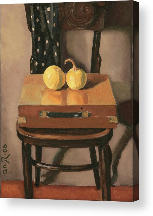 Still-life Chest Chair Brown Yellow Reflection Cucurbit Acrylic Print featuring the painting Painters Chest by Raimonda Jatkeviciute-Kasparaviciene