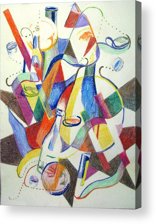 Cubism Acrylic Print featuring the painting Party Bottles by Art Nomad Sandra Hansen
