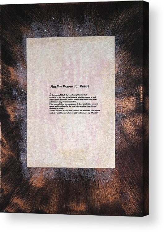 Peace Acrylic Print featuring the painting Peace Prayers - Muslim Prayer For Peace by Emerald GreenForest