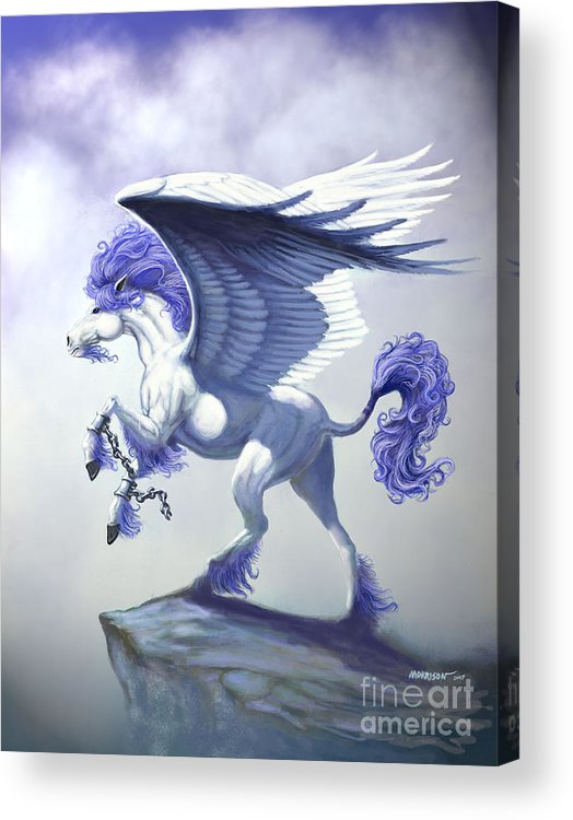 Pegasus.fantasy Acrylic Print featuring the digital art Pegasus Unchained by Stanley Morrison