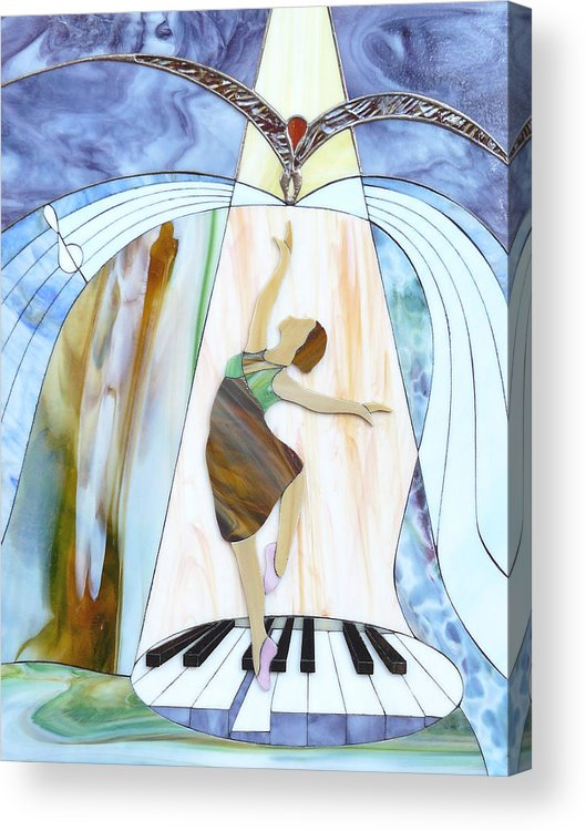 Backlit Acrylic Print featuring the painting Piano Dance by Greg Gierlowski