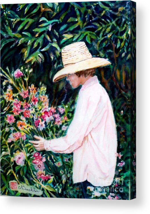 People Acrylic Print featuring the painting Picking A Bouquet by Norma Boeckler