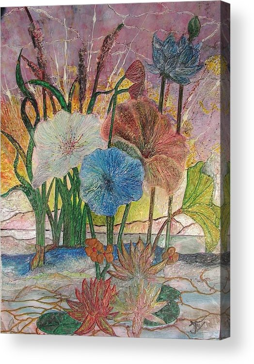 Floral Acrylic Print featuring the painting Pond by John Vandebrooke