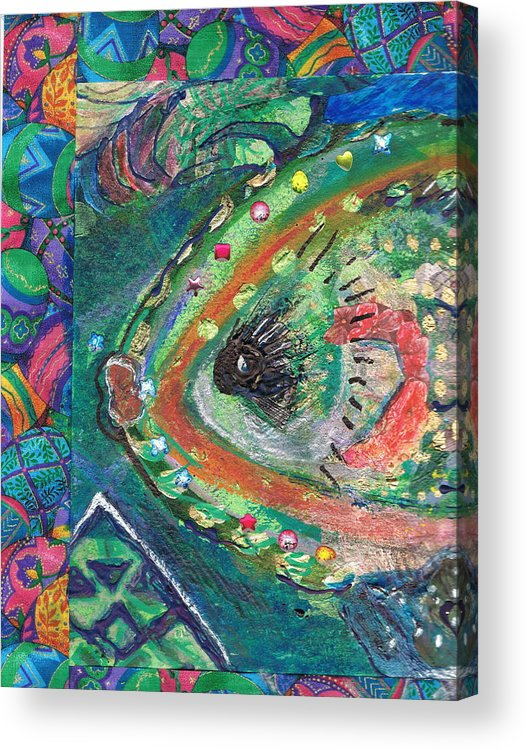 Silly Acrylic Print featuring the painting Pucker Up For A Fancy Fish Kiss by Anne-Elizabeth Whiteway