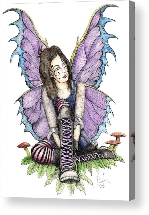 Gothic Fairy Acrylic Print featuring the painting Purple Laces by Preston Shupp