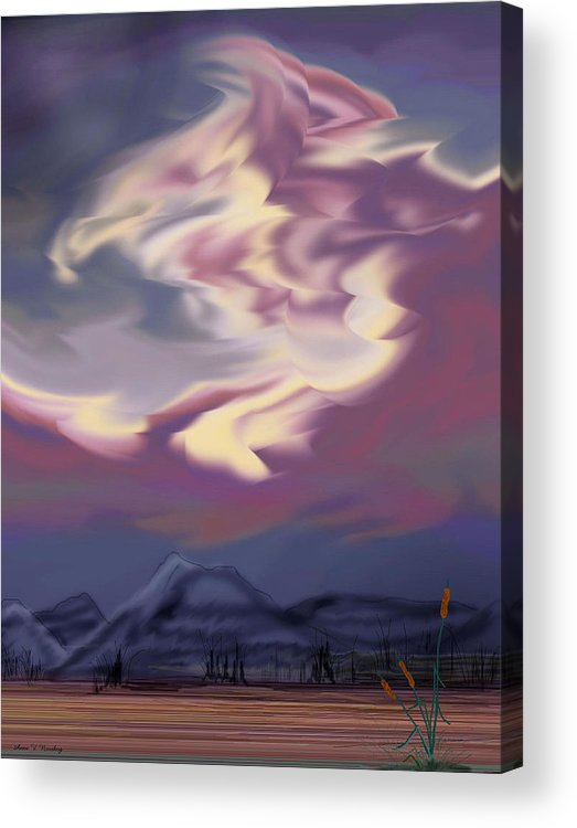 Clouds Acrylic Print featuring the painting Purple Mountain Majesty by Anne Norskog