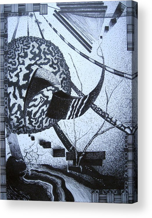 Abstract Acrylic Print featuring the drawing Puzzled by Jessica De la Torre