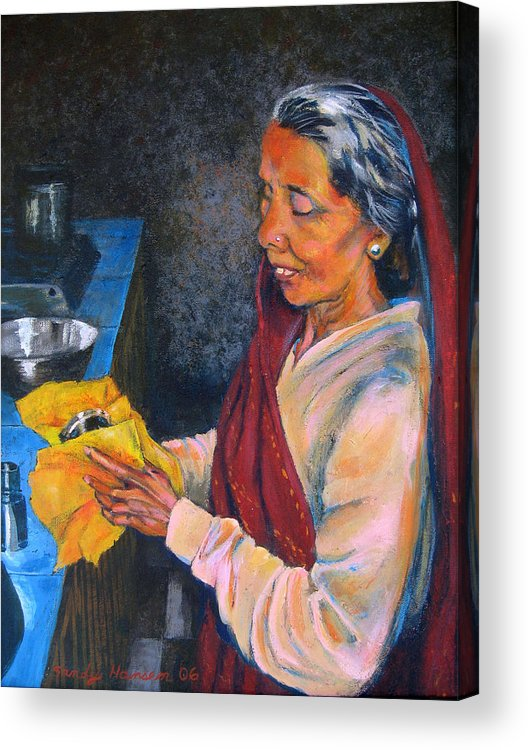 India Acrylic Print featuring the painting Rani The Cook by Art Nomad Sandra Hansen