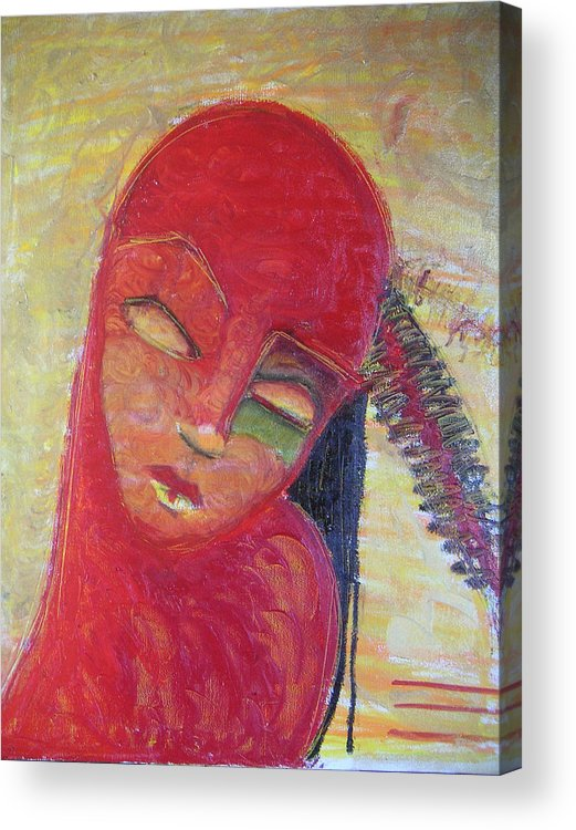 Portrait Acrylic Print featuring the painting Red Skin by Erika Brown