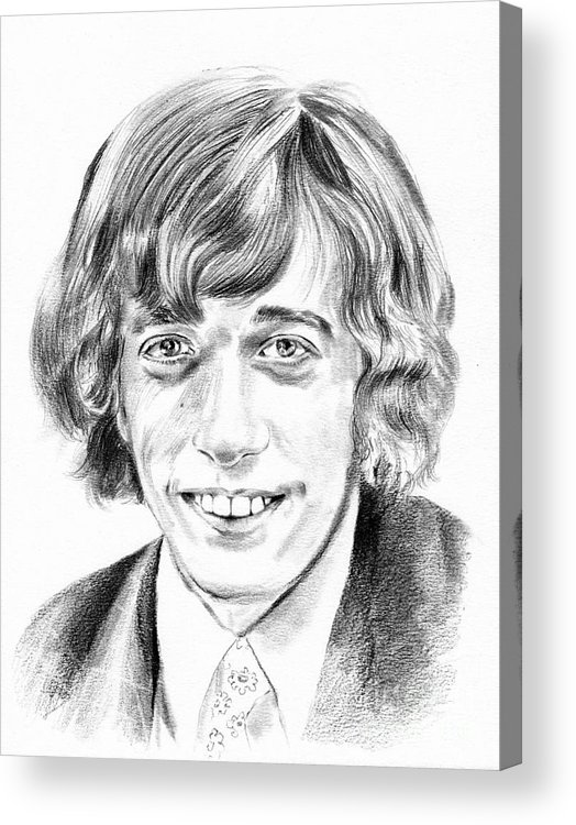 Robin Acrylic Print featuring the drawing Robin Gibb Drawing by Suzann Sines