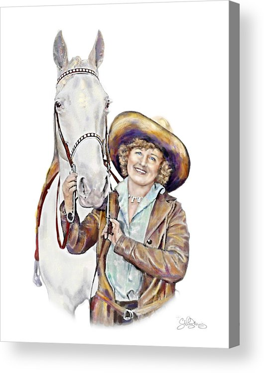 Cowgirl Acrylic Print featuring the painting Ruthie And The Silver Lady by Shirley Morris
