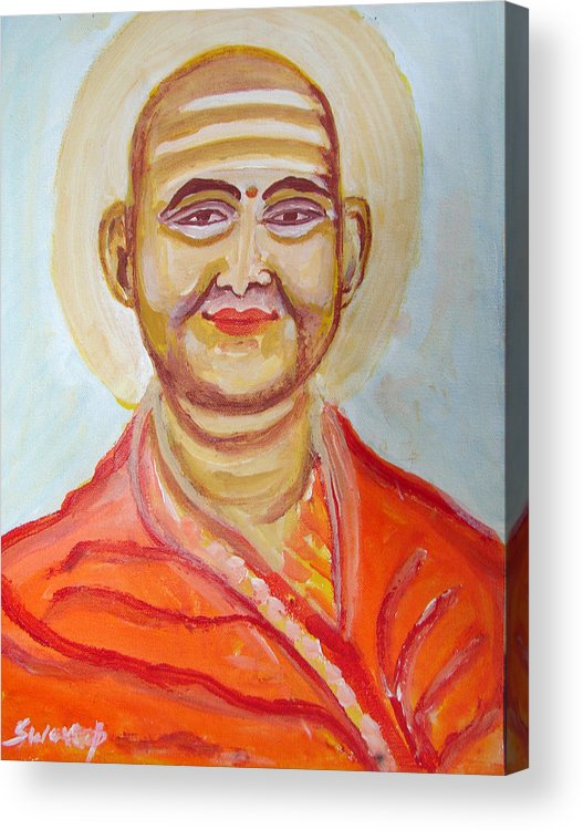 Paintings In Acrylics And Oils On --- Indian Saints Acrylic Print featuring the painting Saint 8 by Anand Swaroop Manchiraju