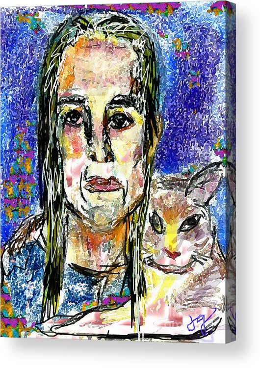 Woman Acrylic Print featuring the mixed media Sarah And Shai by Joyce Goldin