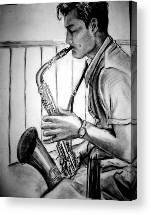 Handsome Man Acrylic Print featuring the drawing Saxophone Player by Laura Rispoli