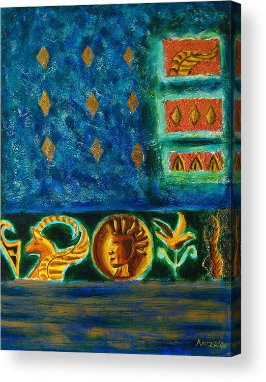 Abstract Acrylic Print featuring the painting Scythian Gold by Aliza Souleyeva-Alexander