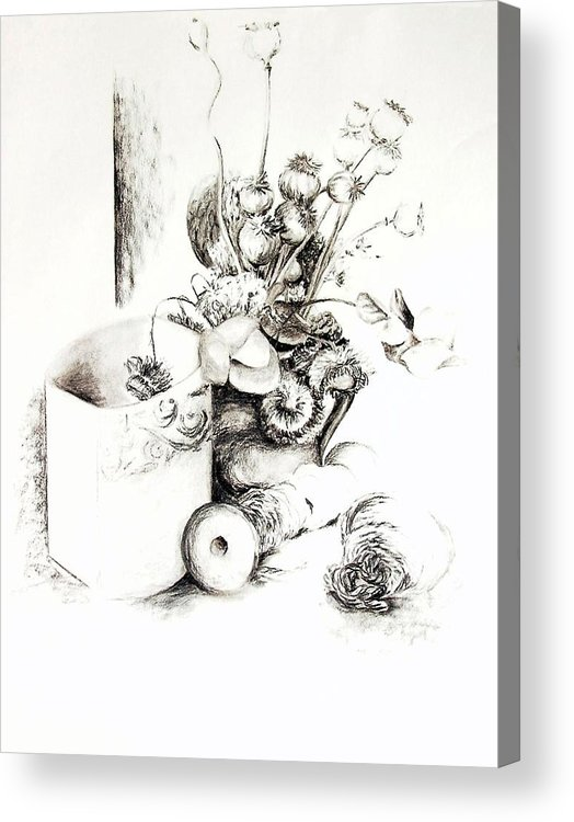 Still Life Acrylic Print featuring the drawing Sec by Muriel Dolemieux