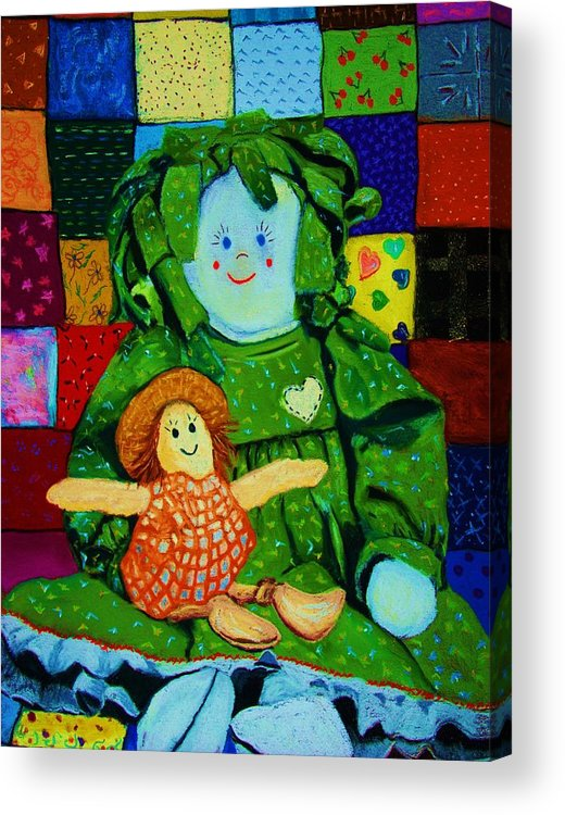 Dolls Acrylic Print featuring the print Sew Sweet by Melinda Etzold