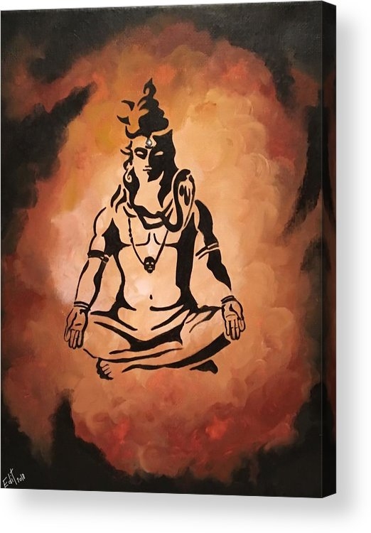 Shiva Acrylic Print featuring the painting Shiva by Edit Sullivan